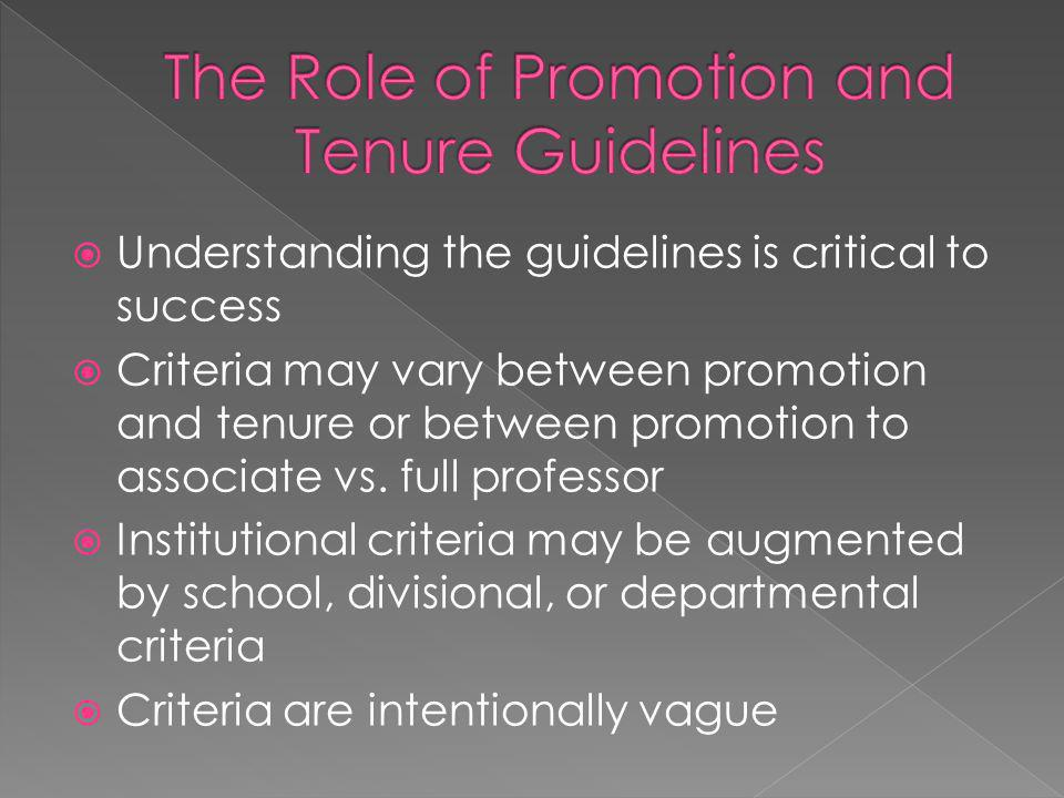 The Role of Promotion and Tenure Guidelines