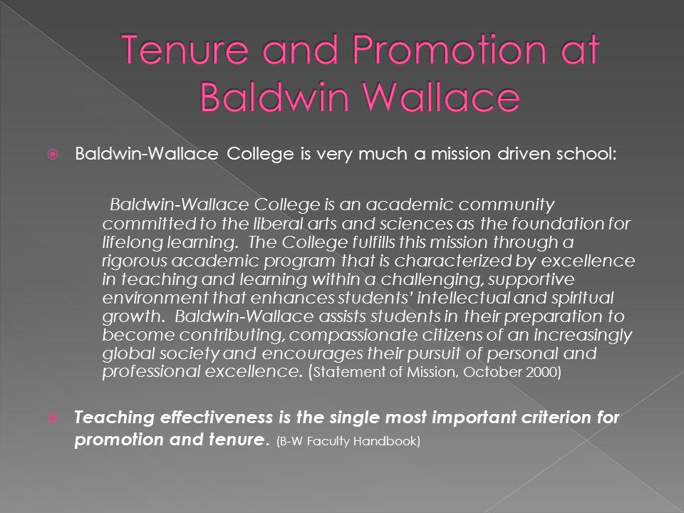 Tenure and Promotion at Baldwin Wallace