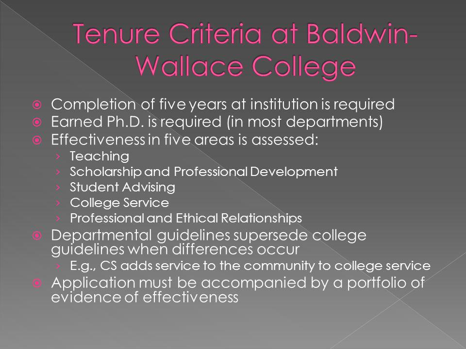 Tenure Criteria at Baldwin-Wallace College