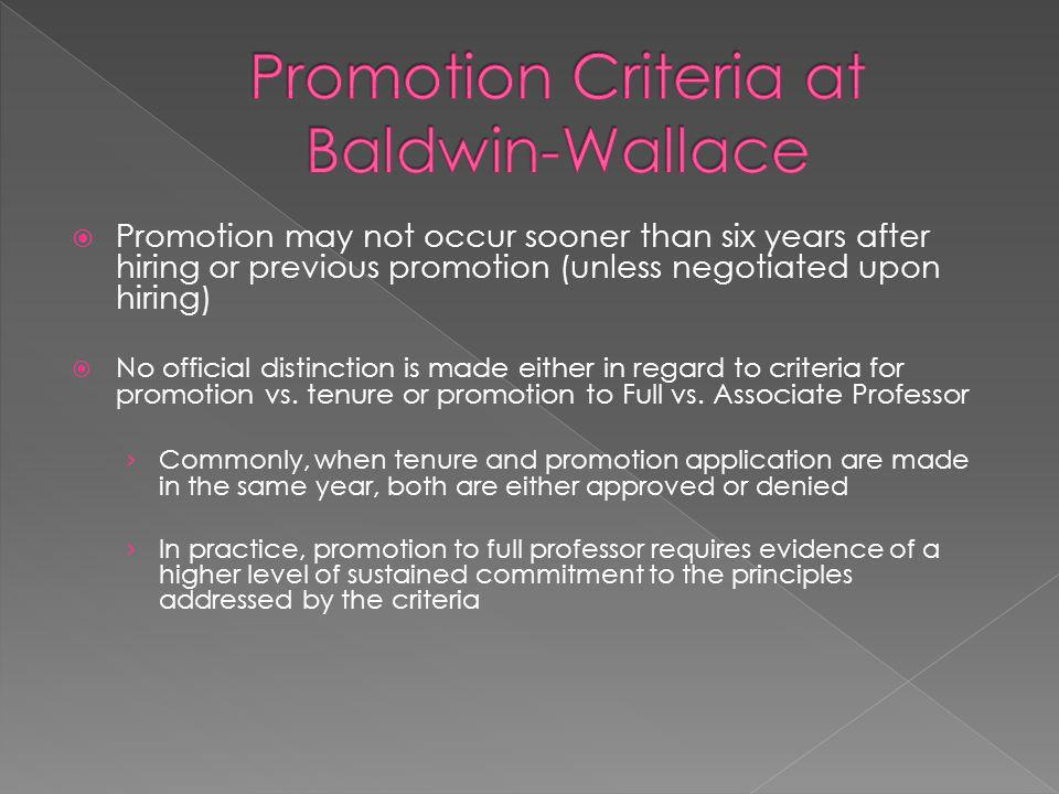 Promotion Criteria at Baldwin-Wallace