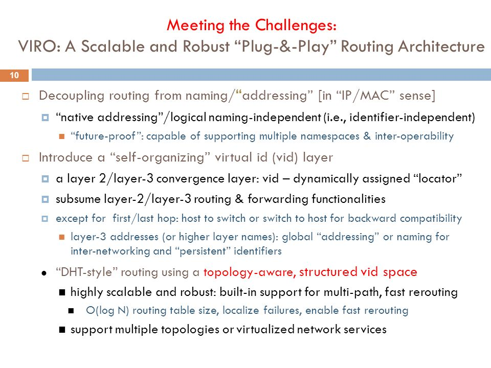 Meeting the Challenges: VIRO: A Scalable and Robust Plug-&-Play Routing Architecture