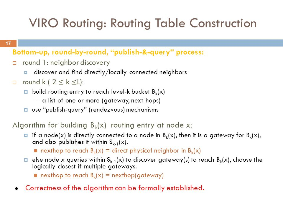 VIRO Routing: Routing Table Construction