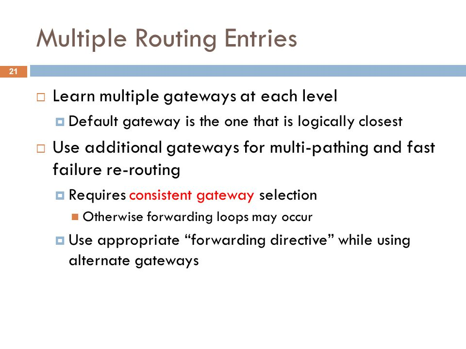 Multiple Routing Entries