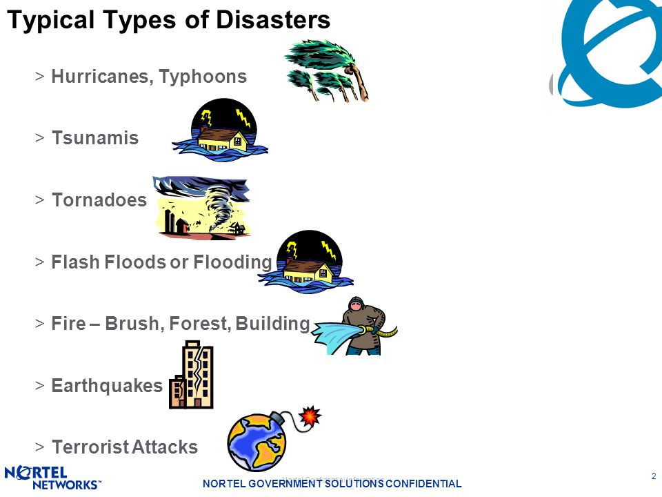 Typical Types of Disasters