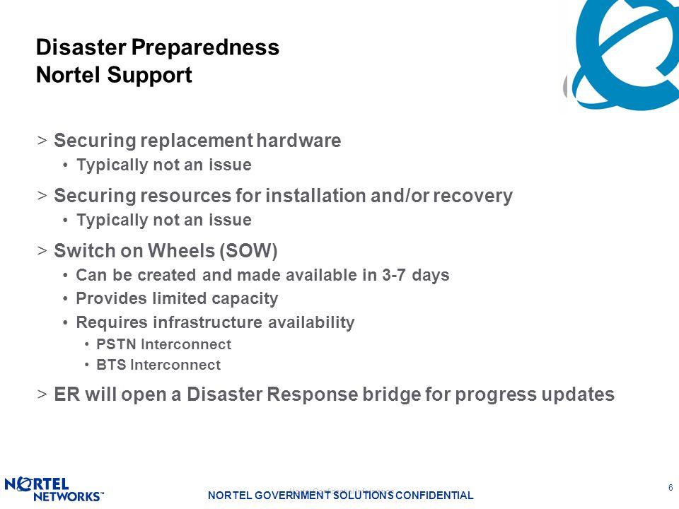Disaster Preparedness Nortel Support