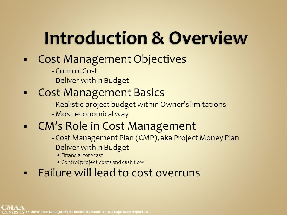 introduction to cost control 1 cost control during the pre-contract stage of a building project - an introduction tony cunningham school of surveying and construction management.
