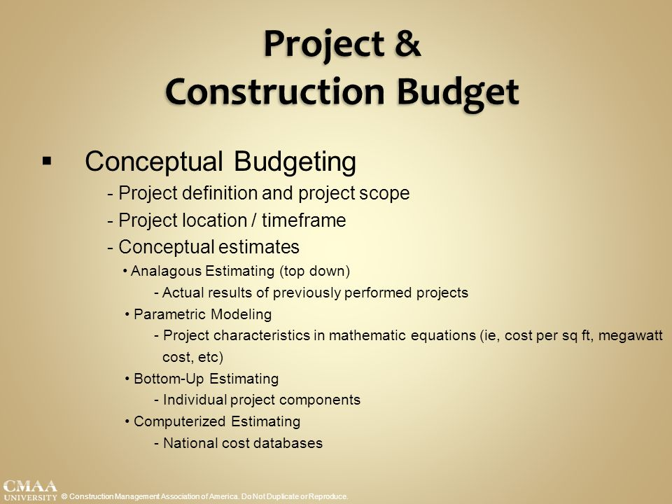 budgeting construction