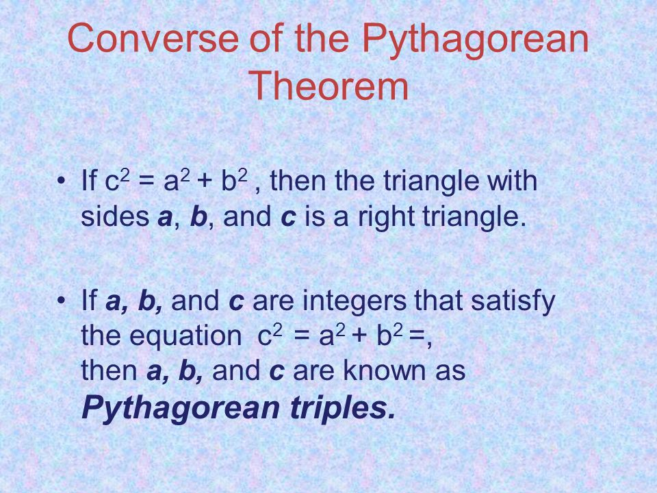 Lessons 9.1 – 9.2 The Pythagorean Theorem & Its Converse ...