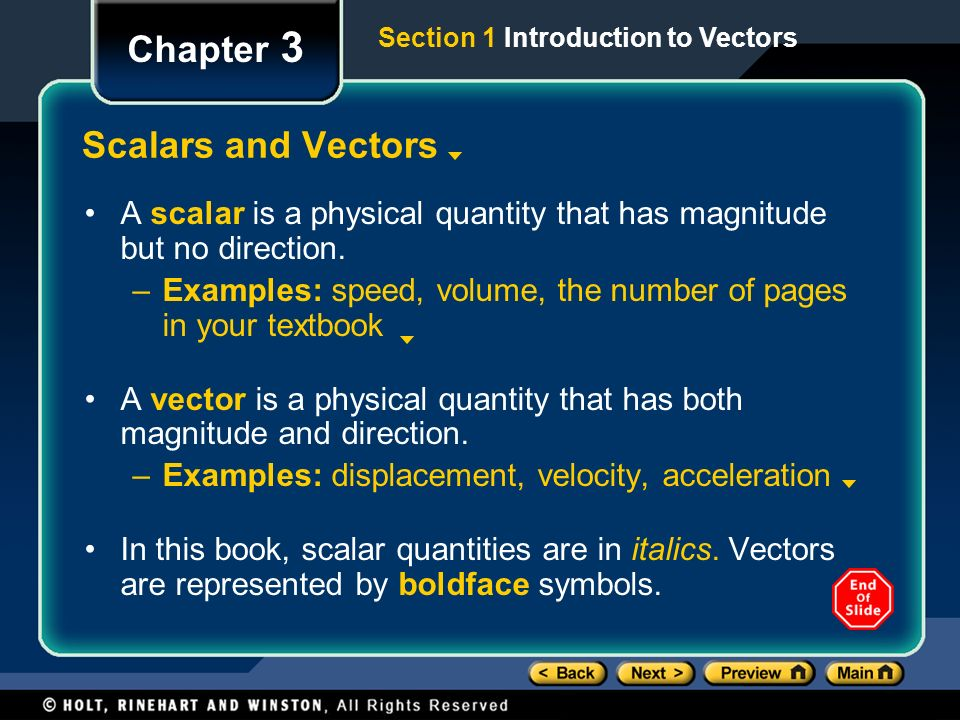 Chapter 3 Scalars and Vectors