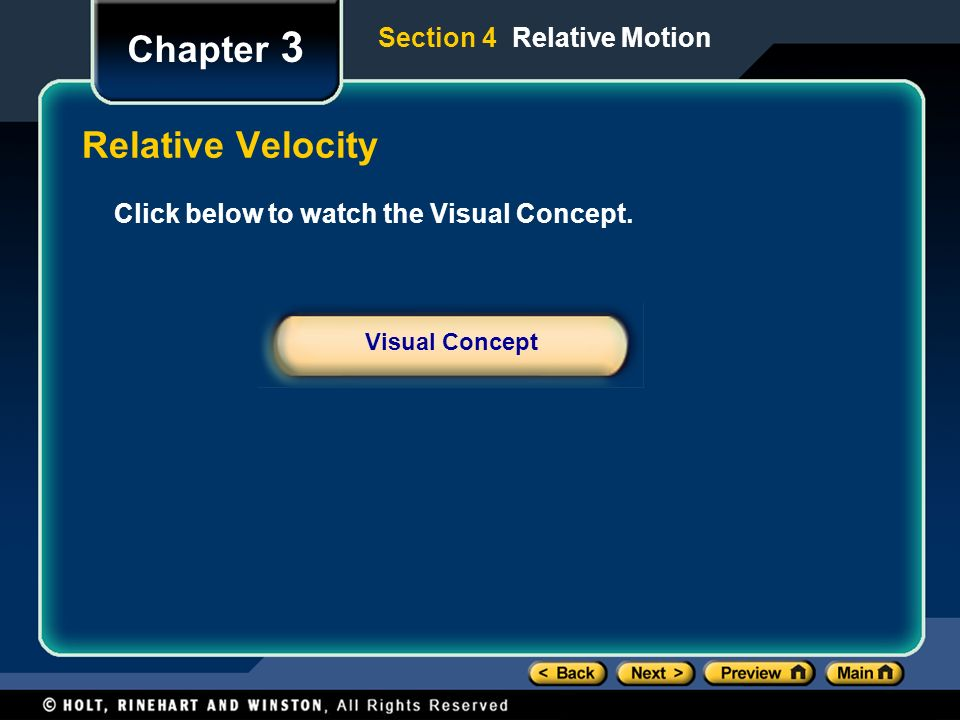 Chapter 3 Relative Velocity Section 4 Relative Motion