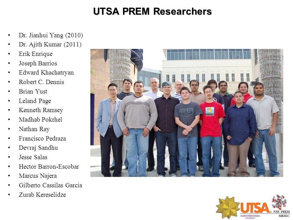 UTSA PREM Researchers Dr. Jianhui Yang (2010) Dr. Ajith Kumar (2011)