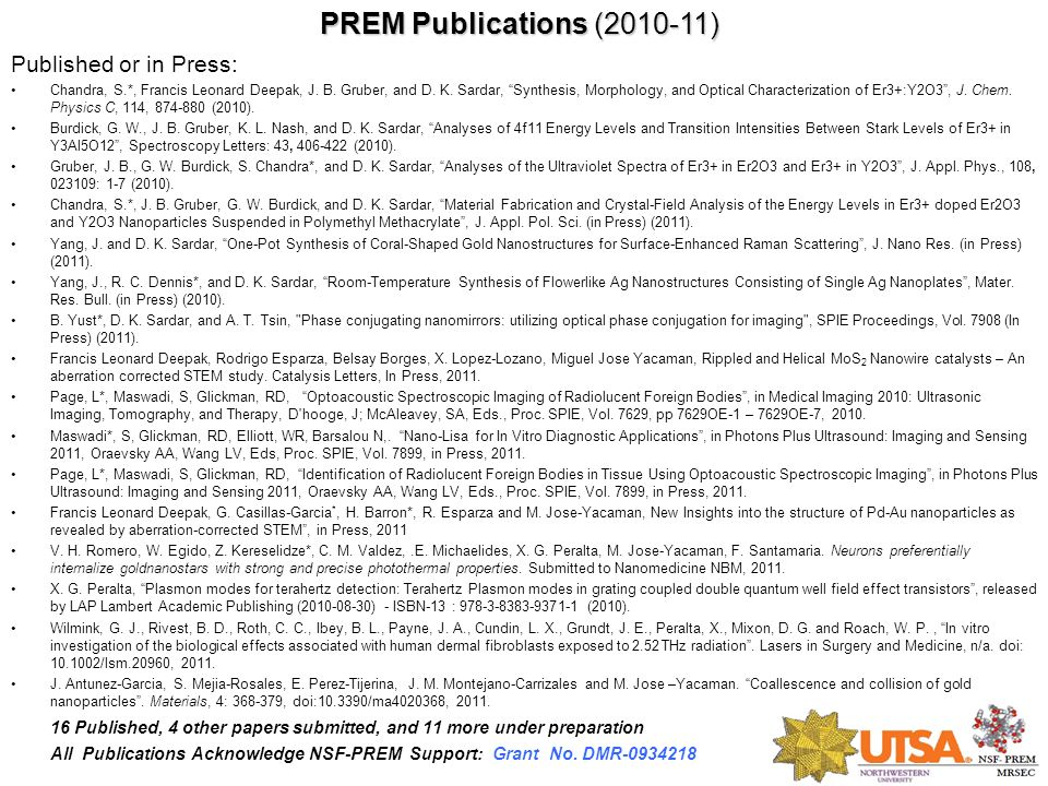 PREM Publications (2010-11) Published or in Press: