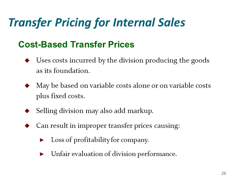 costs and transfer price Definition of transfer price: tax authorities usually frown upon transfer pricing aimed at tax avoidance and (market price) basis also called transfer cost.