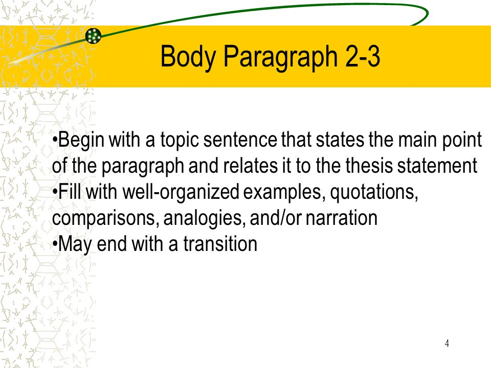 Body Paragraph 2-3 Begin with a topic sentence that states the main point of the paragraph and relates it to the thesis statement.