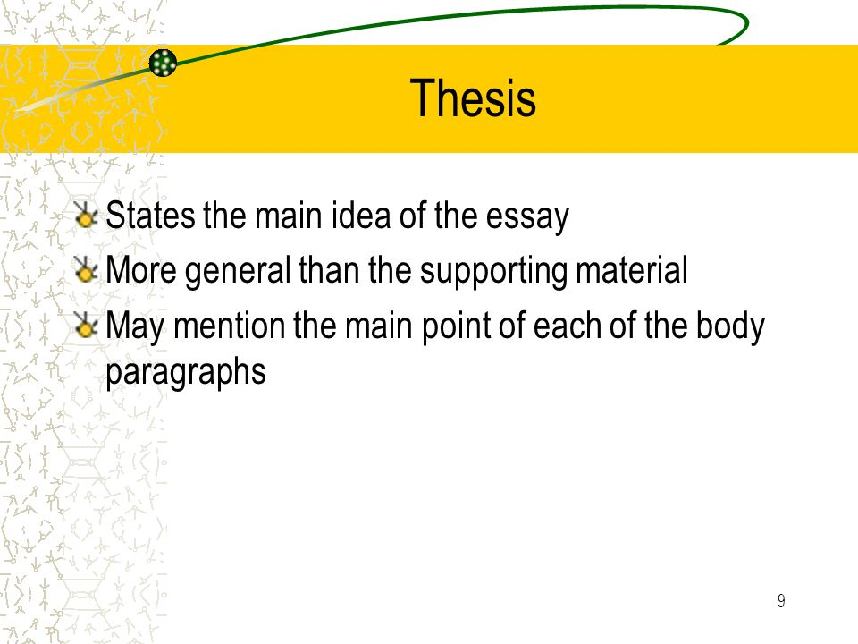 Thesis States the main idea of the essay