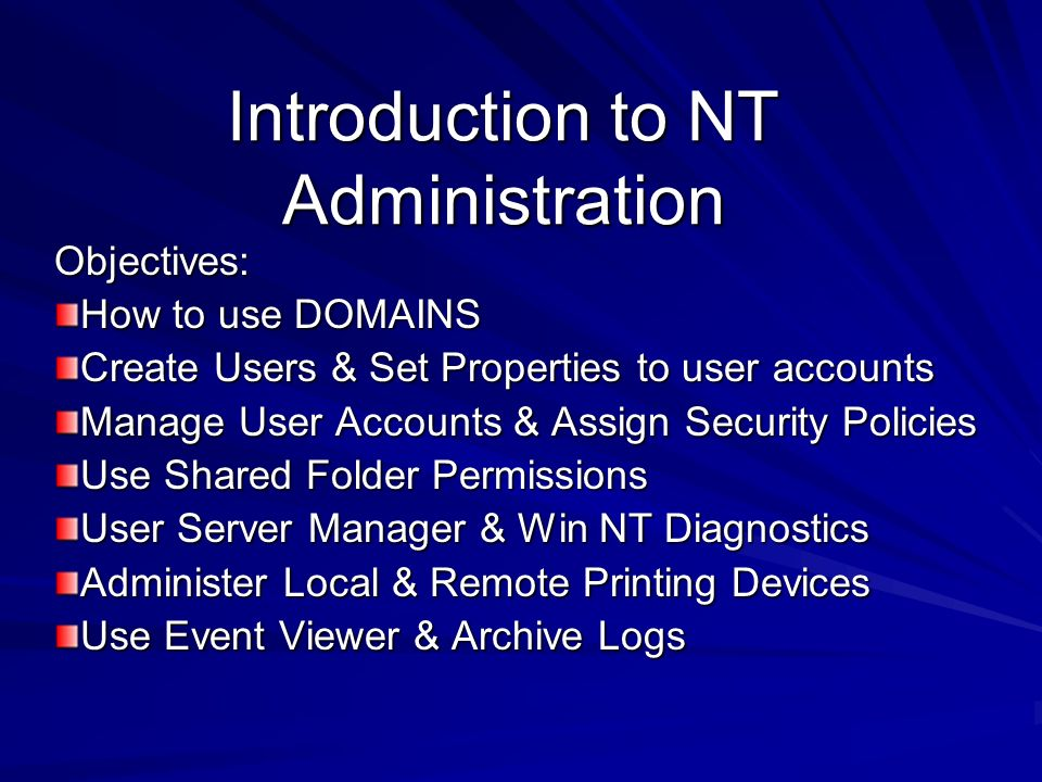 Introduction to NT Administration