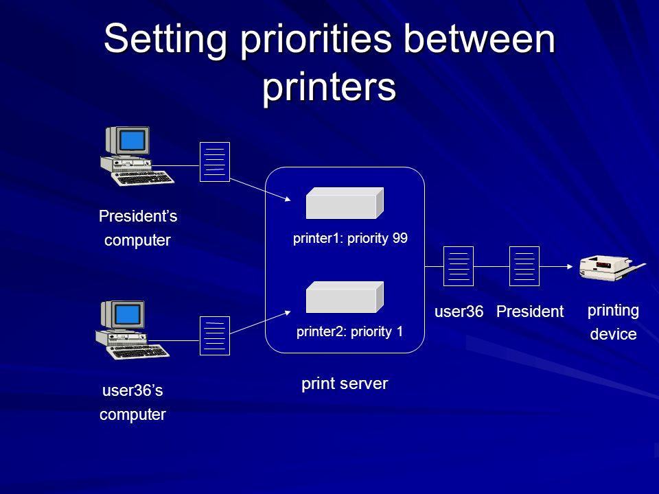 Setting priorities between printers