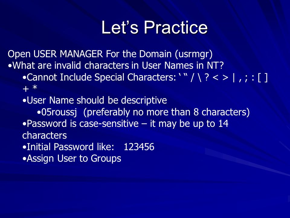 Let's Practice Open USER MANAGER For the Domain (usrmgr)