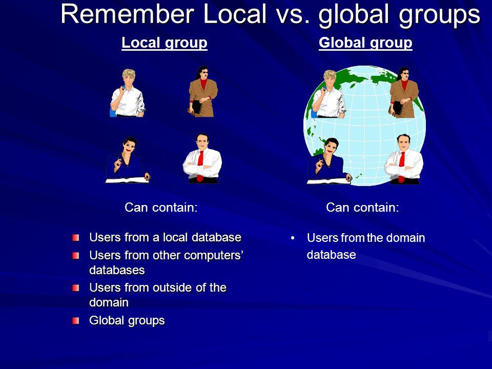 Remember Local vs. global groups