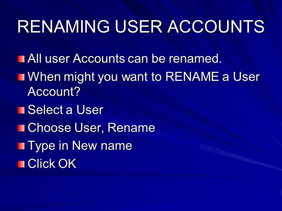 RENAMING USER ACCOUNTS