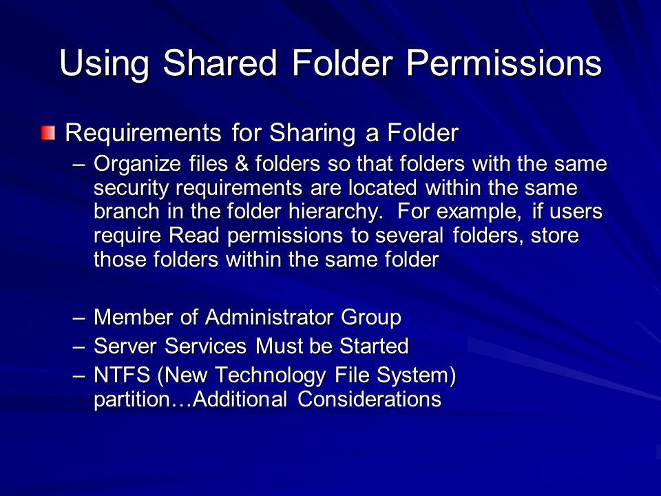 Using Shared Folder Permissions