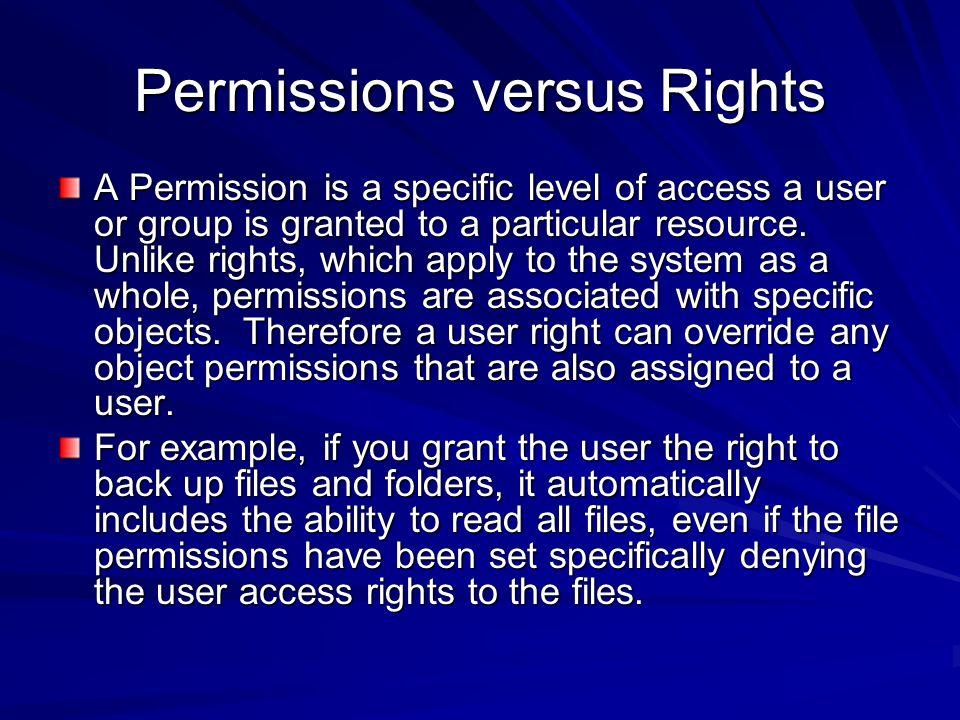 Permissions versus Rights