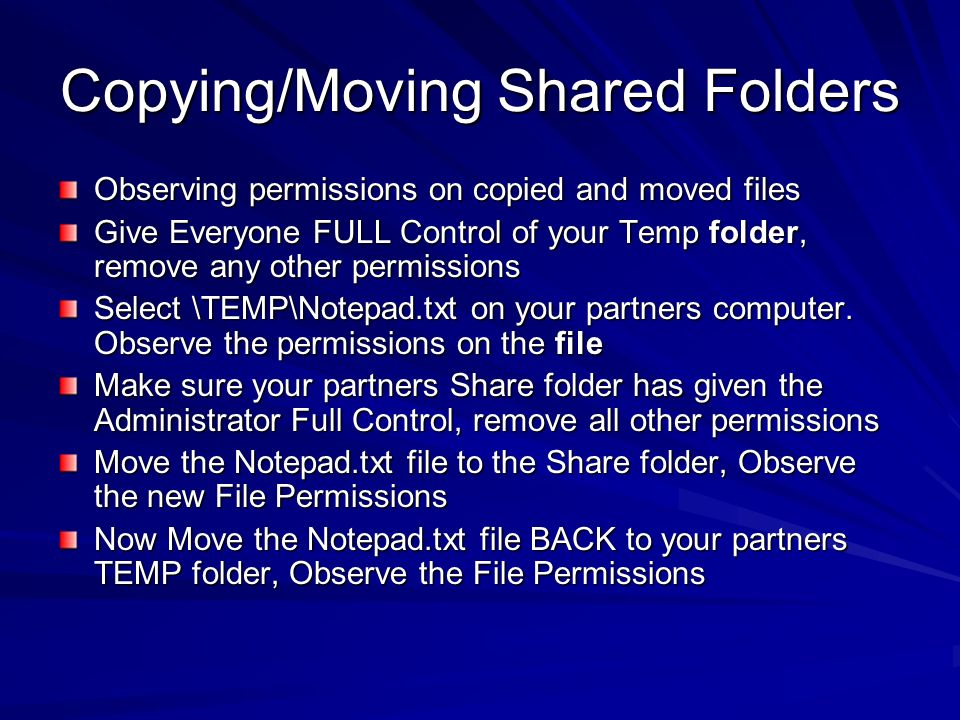Copying/Moving Shared Folders