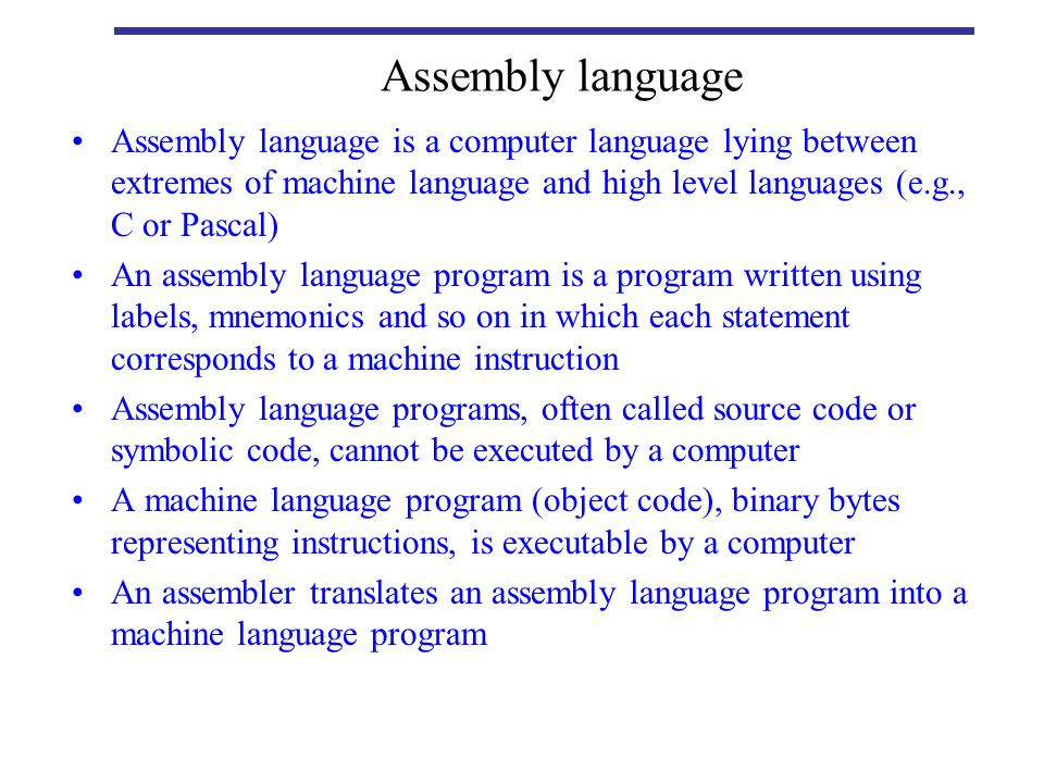 assembly language programs Two functionally equivalent example programs are presented: one written in assembly language and the other in c language detailed discussions of each program are.