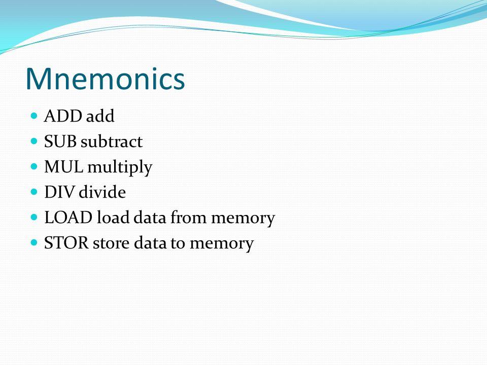 Mnemonics ADD add SUB subtract MUL multiply DIV divide