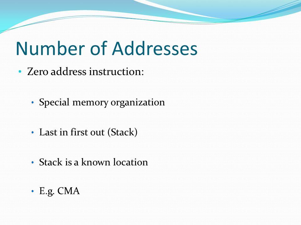 Number of Addresses Zero address instruction: