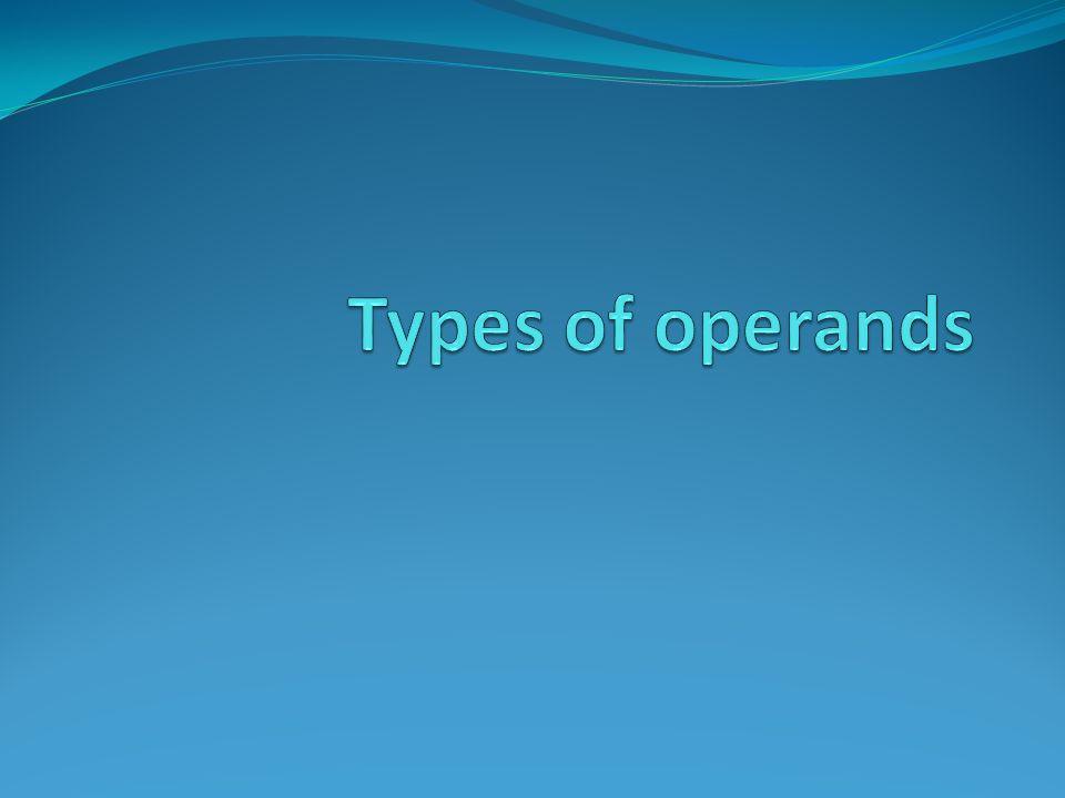 Types of operands