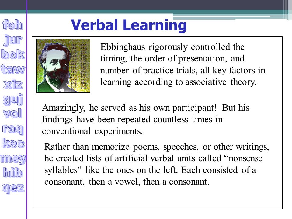 verbal learning Visual/verbal learning style if you have a visual/verbal learning style, you prefer information that is presented visually in a written formatyou feel most comfortable reading, and you may recall the spelling of a word by thinking of how the word looks.