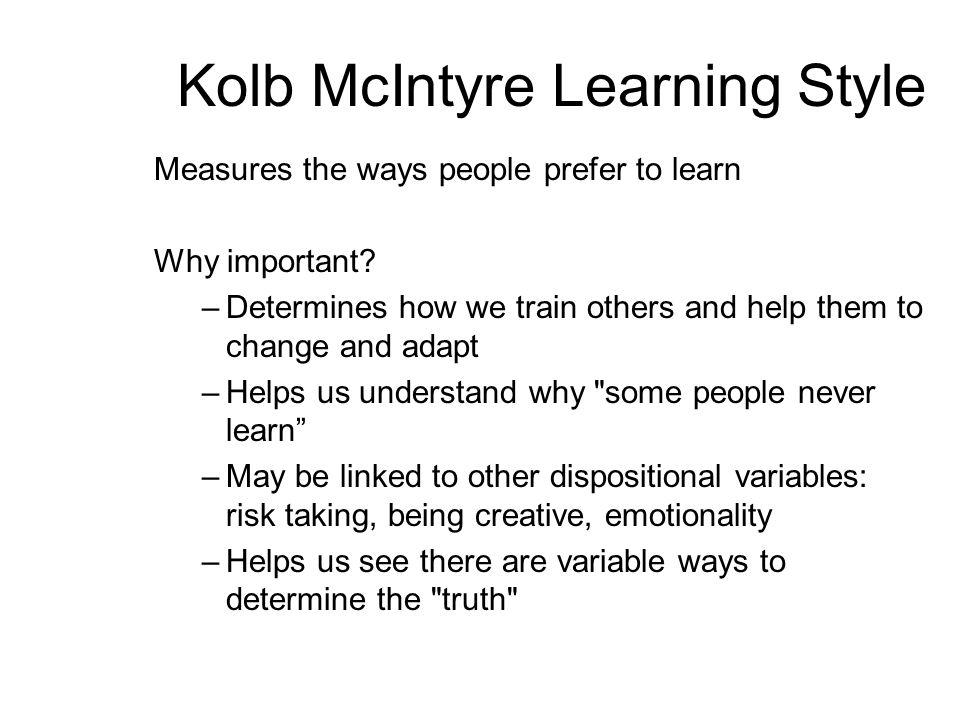 Kolb McIntyre Learning Style