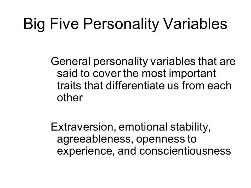 Big Five Personality Variables
