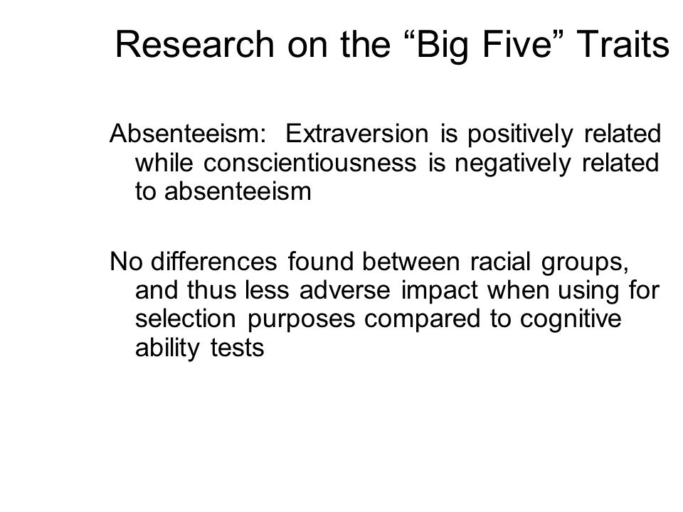 Research on the Big Five Traits