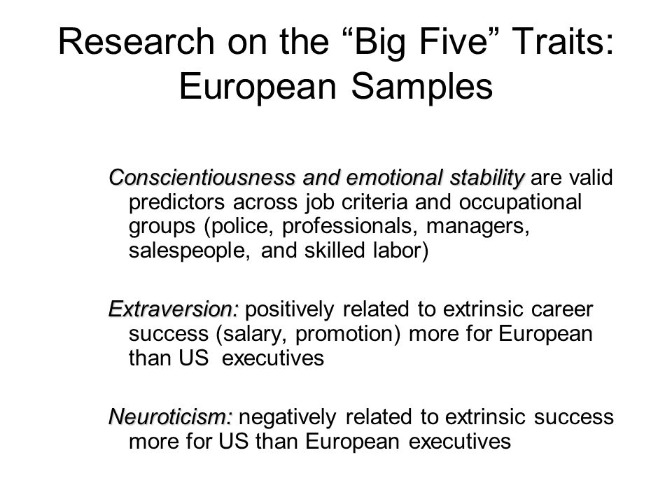 Research on the Big Five Traits: European Samples