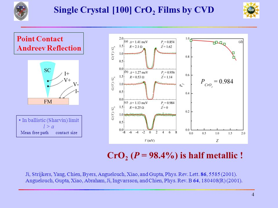 Single Crystal [100] CrO2 Films by CVD