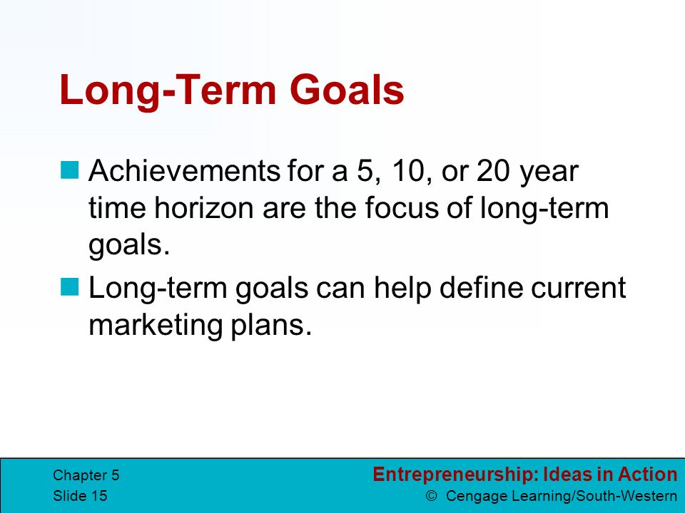 long term goals Ideally, your short-term goals and long-term goals should relate to one another this shows that you have a plan in place and that you're committed to following it this means that your short-term goals should somehow lead to your long-term goals.
