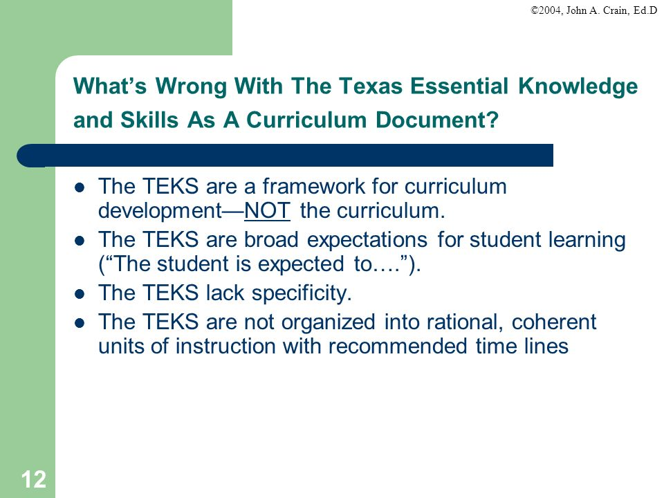 What's Wrong With The Texas Essential Knowledge and Skills As A Curriculum Document