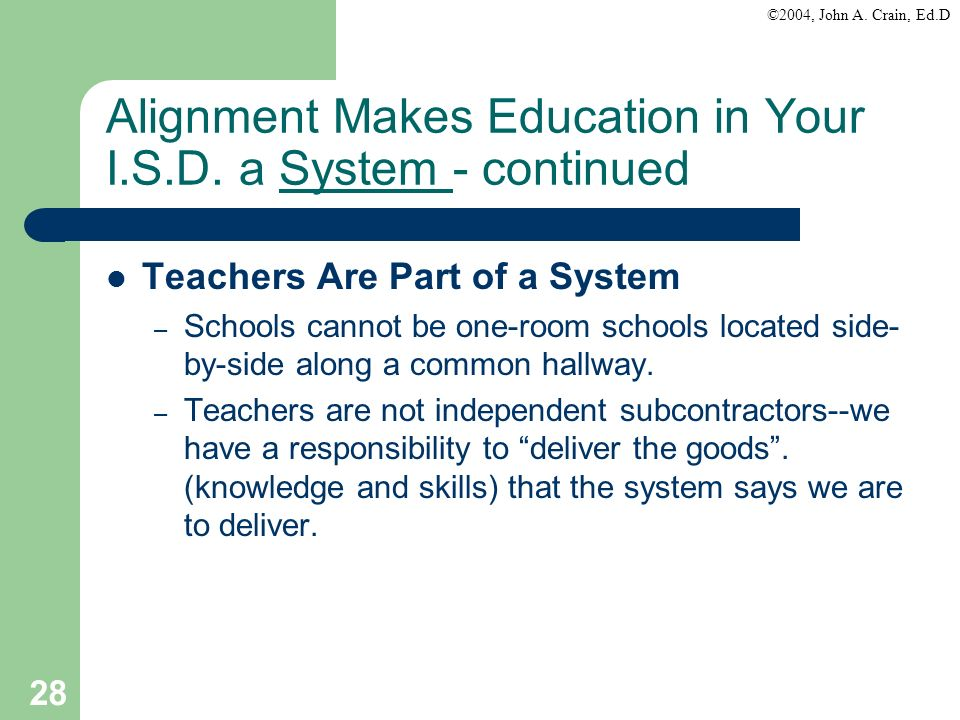 Alignment Makes Education in Your I.S.D. a System - continued
