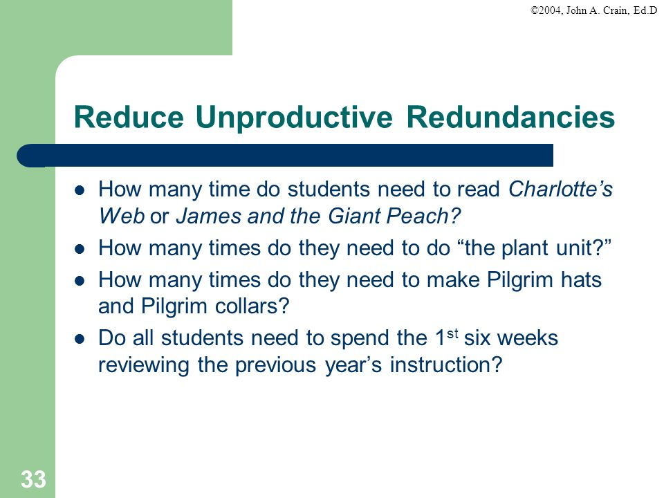 Reduce Unproductive Redundancies