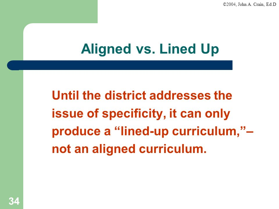 Aligned vs. Lined Up Until the district addresses the
