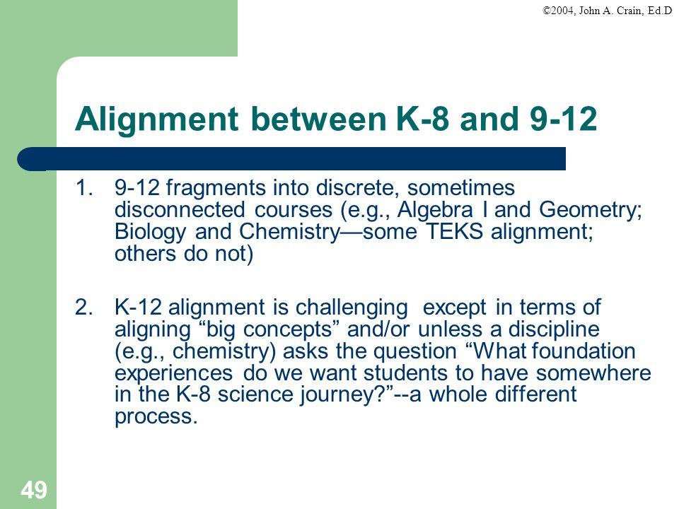 Alignment between K-8 and 9-12