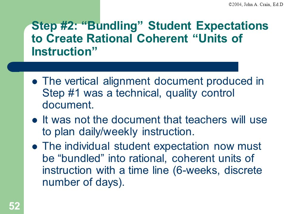 Step #2: Bundling Student Expectations to Create Rational Coherent Units of Instruction