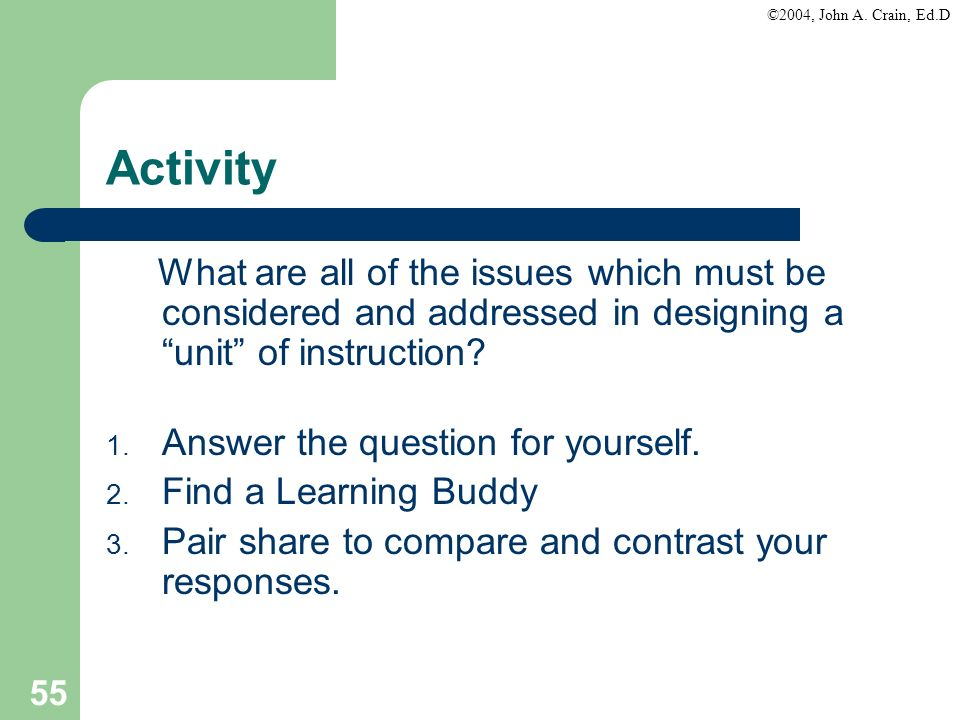 Activity What are all of the issues which must be considered and addressed in designing a unit of instruction