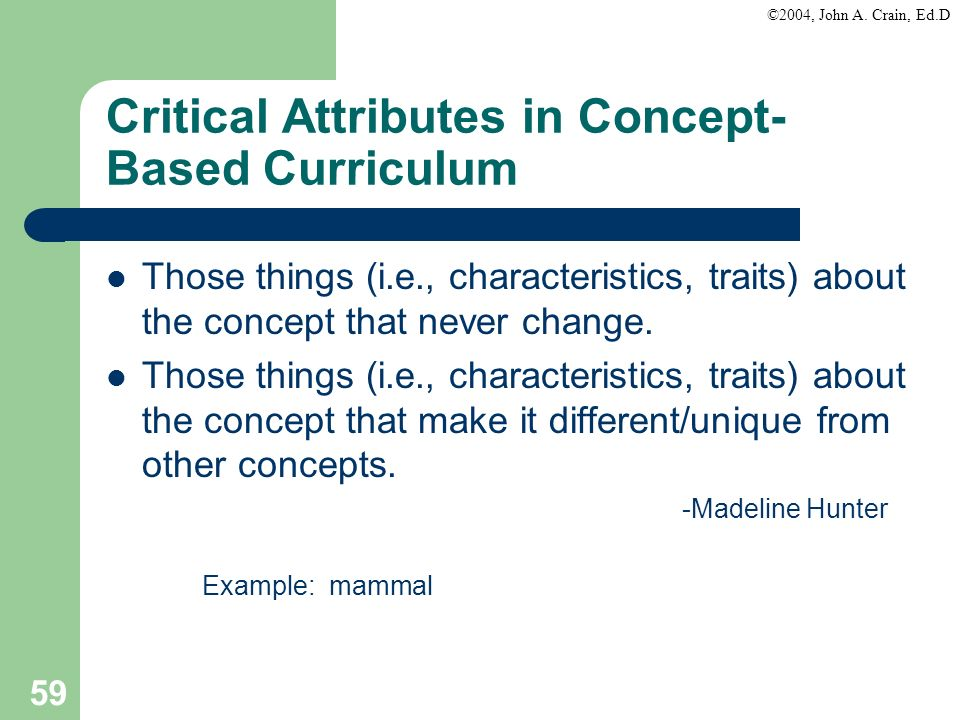 Critical Attributes in Concept-Based Curriculum