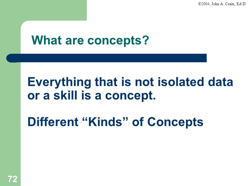 What are concepts. Everything that is not isolated data or a skill is a concept.