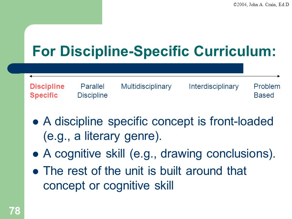 For Discipline-Specific Curriculum: