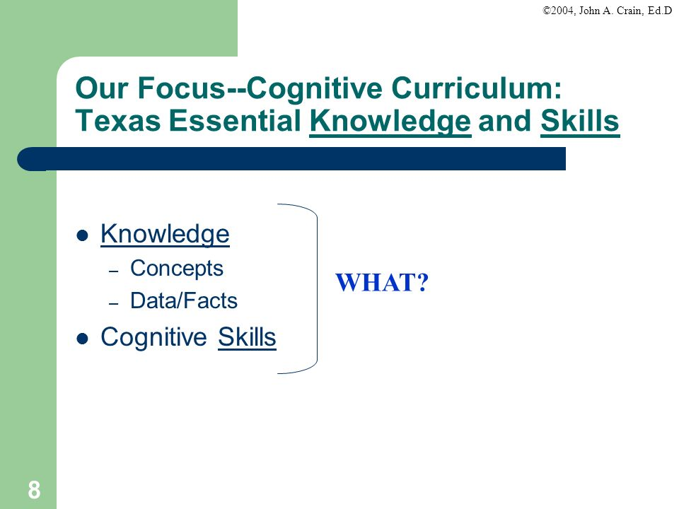Our Focus--Cognitive Curriculum: Texas Essential Knowledge and Skills