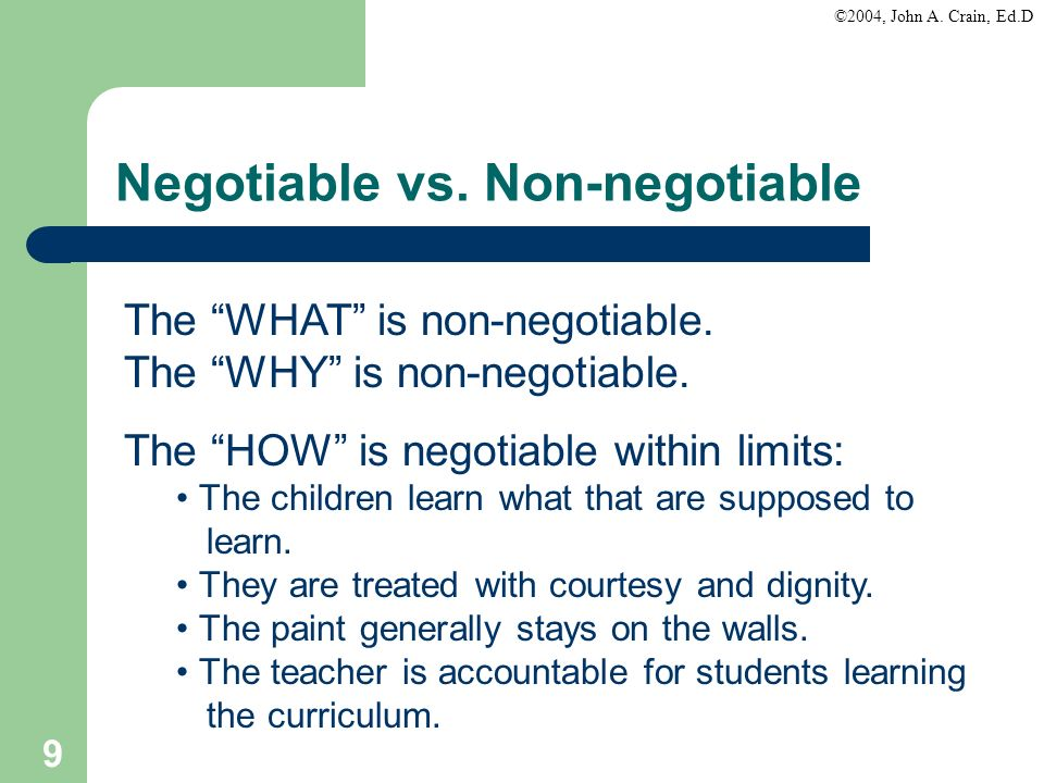 Negotiable vs. Non-negotiable